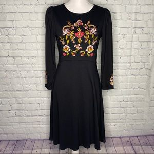 LOFT black fit and flare floral embroidered dress